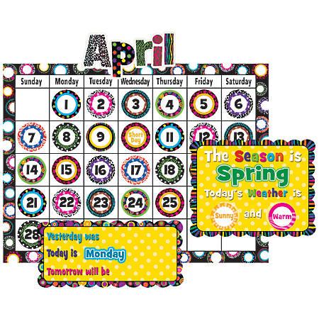 "Teacher Created Resources Calendar Bulletin Board Set, 24"" x 18"", Fancy Circles, Pre-K - Grade 8"
