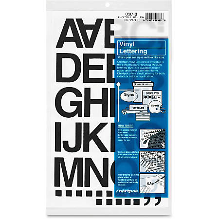 "Chartpak Vinyl Helvetica Style Letters/Numbers - 10, 35 (Numbers, Capital Letter, Symbols) Shape - Self-adhesive - 1.50"" Height - Black - Vinyl - 1 / Pack"