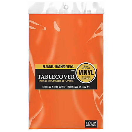 """Amscan Flannel-Backed Vinyl Table Covers, 52"""" x 90"""", Orange Peel, Pack Of 3 Covers"""