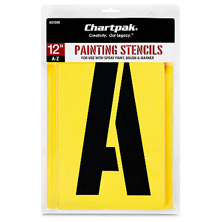 """Chartpak Painting Stencils - 12"""" - Gothic - Capital Letter - Yellow"""