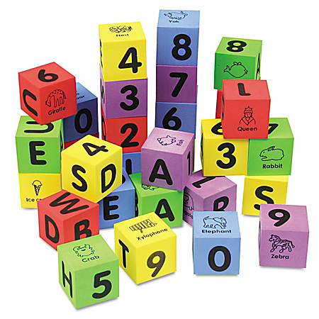 Chenille Kraft WonderFoam Learning Blocks, Assorted Colors, Pack Of 30
