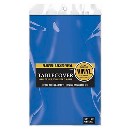 """Amscan Flannel-Backed Vinyl Table Covers, 52"""" x 90"""", Royal Blue, Pack Of 3 Covers"""
