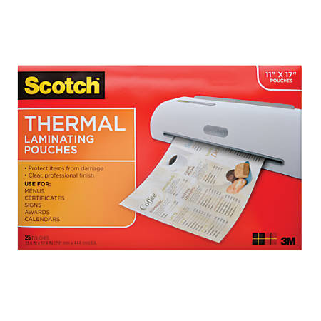 """Scotch™ TP3856-25 Laminating Sheets, 11 1/2"""" x 17 1/2"""", Clear, Pack Of 25"""