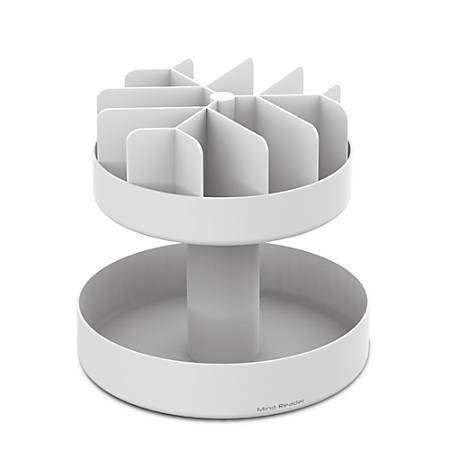 """Mind Reader Supreme Lazy Suzan 2-Tier Breakroom Snack Organizer, 14""""H x 14 1/2""""W x 14 1/2""""D, White"""