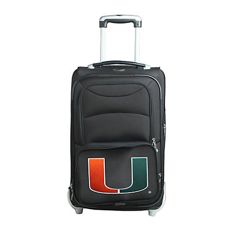 """Denco Sports Luggage NCAA Expandable Rolling Carry-On, 20 1/2"""" x 12 1/2"""" x 8"""", Miami Hurricanes, Black"""
