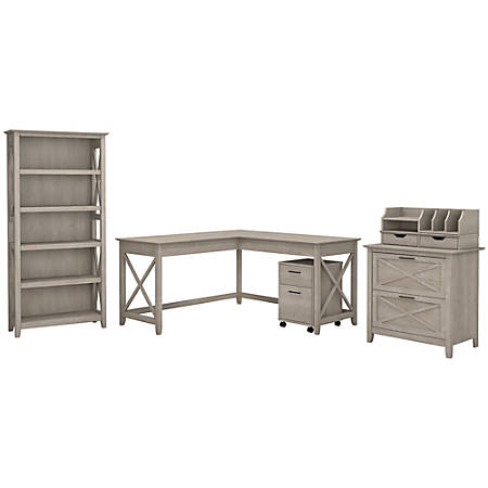 "Bush Furniture Key West 60""W L Shaped Desk with File Cabinets, Bookcase and Desktop Organizers, Washed Gray, Standard Delivery"