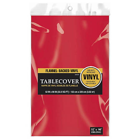 "Amscan Flannel-Backed Vinyl Table Covers, 52"" x 90"", Apple Red, Pack Of 3 Covers"