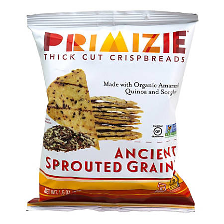 Primizie Ancient Sprouted Grains Flatbread Crisps, 1.5 Oz, Case Of 24 Bags