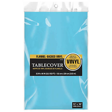"""Amscan Flannel-Backed Table Covers, 52"""" x 90"""", Caribbean Blue, Pack Of 3 Covers"""