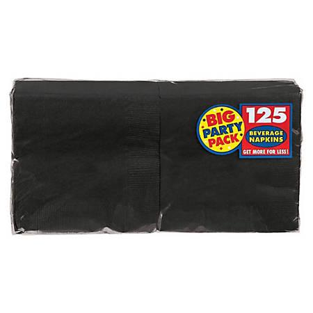 "Amscan 2-Ply Paper Beverage Napkins, 5"" x 5"", Jet Black, 125 Napkins Per Party Pack, Set Of 3 Packs"