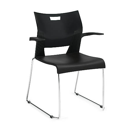 Global® Duet Stacking Armchairs, Black/Chrome, Set Of 4