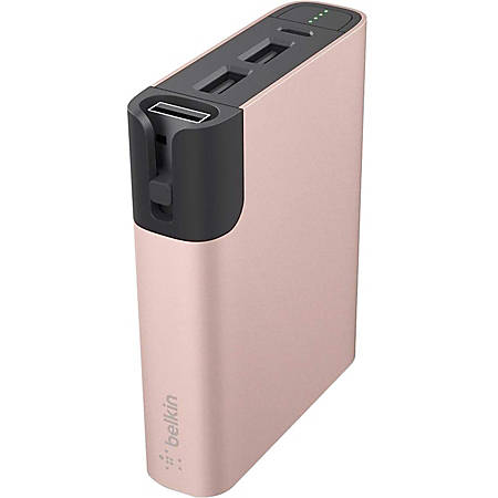 Belkin MIXIT↑ Power RockStar 6600 - For Smartphone, Tablet PC, USB Device, iPad mini, iPhone, iPad, iPad Air, iPod - Lithium Ion (Li-Ion) - 6600 mAh - 3.40 A - 5 V DC Output - 5 V DC Input - 3 x - Rose Gold, Gold, Pink