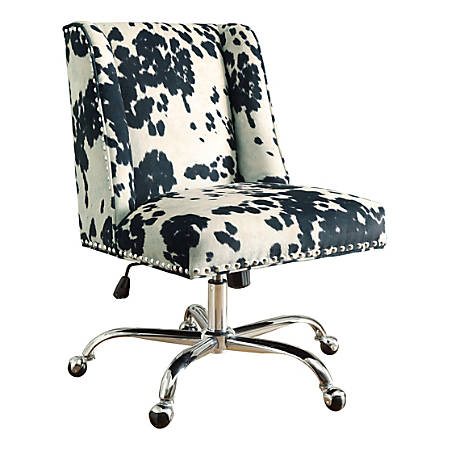 Linon Cooper Mid-Back Chair, Black Cow/Chrome