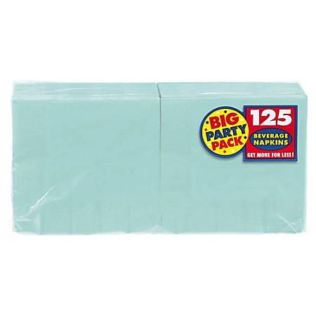 "Amscan 2-Ply Paper Beverage Napkins, 5"" x 5"", Robin's Egg Blue, 125 Napkins Per Party Pack, Set Of 3 Packs"
