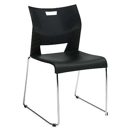 "Global® Duet™ Stacking Chair, 32 1/4""H x 25 1/2""W x 23""D, Asphalt Night/Chrome"