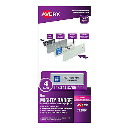 """Avery® The Mighty Badge Magnetic Badges For Laser Printers, 1"""" x 3"""", Silver, Pack Of 4"""