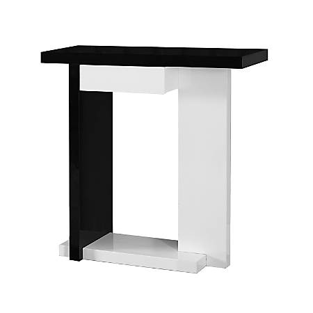 Monarch Specialties Console Table, Single Drawer, White/Black