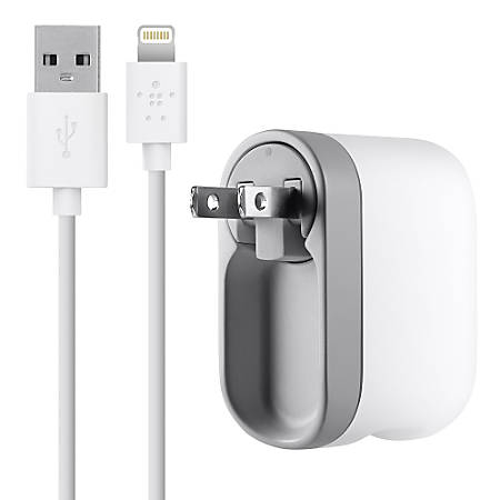 Belkin® Swivel Charger With Lightning ChargeSync Cable, White