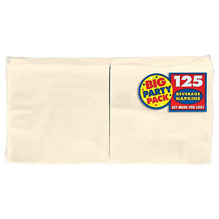"Amscan 2-Ply Paper Beverage Napkins, 5"" x 5"", Vanilla Crème, 125 Napkins Per Party Pack, Set Of 3 Packs"