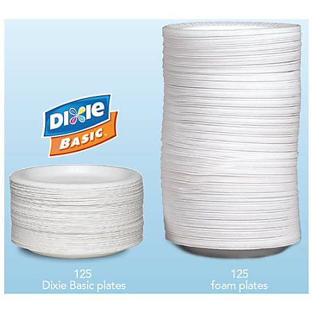 "Dixie® Round Paper Plates, 8 1/2"", White, Case Of 500"