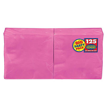 """Amscan 2-Ply Paper Lunch Napkins, 6-1/2"""" x 6-1/2"""", Bright Pink, 125 Per Big Party Pack, Set Of 3 Packs"""
