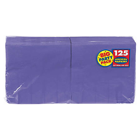 """Amscan 2-Ply Paper Lunch Napkins, 6-1/2"""" x 6-1/2"""", Purple, 125 Per Big Party Pack, Set Of 3 Packs"""