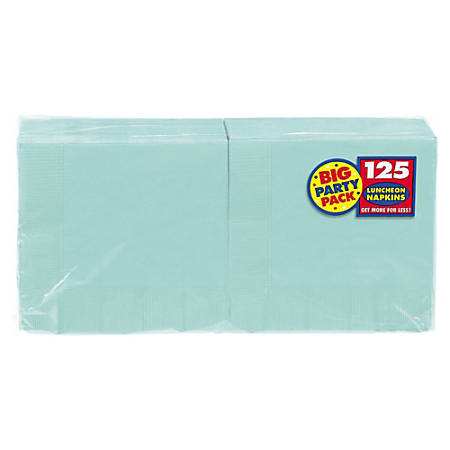 "Amscan 2-Ply Paper Lunch Napkins, 6-1/2"" x 6-1/2"", Robin's Egg Blue, 125 Per Big Party Pack, Set Of 3 Packs"