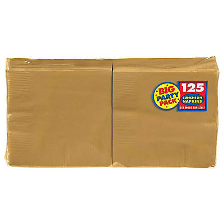 """Amscan 2-Ply Paper Lunch Napkins, 6-1/2"""" x 6-1/2"""", Gold, 125 Per Big Party Pack, Set Of 3 Packs"""