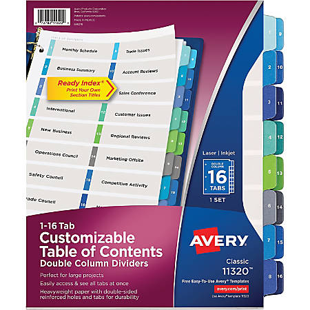 Avery® Ready Index® 20% Recycled Double-Column Table Of Contents Dividers, 16-Tab
