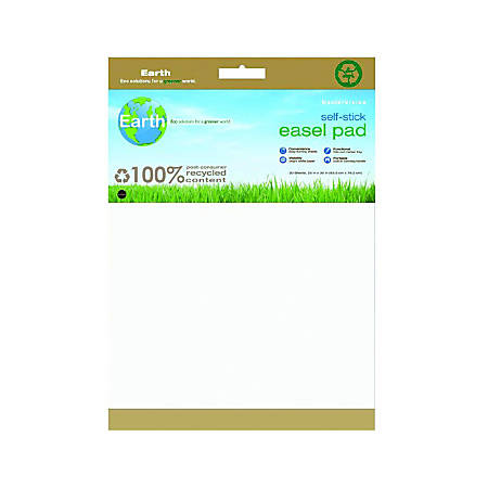 """MasterVision™ Earth 100% Recycled Self-Stick Easel Pad, 25"""" x 30"""", White, 30 Sheets"""