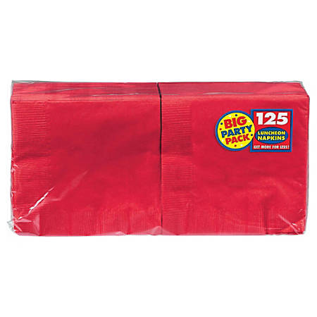 """Amscan 2-Ply Paper Lunch Napkins, 6-1/2"""" x 6-1/2"""", Apple Red, 125 Per Big Party Pack, Set Of 3 Packs"""