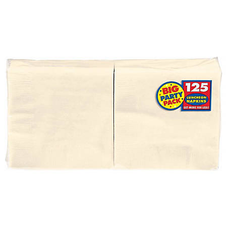 """Amscan 2-Ply Paper Lunch Napkins, 6-1/2"""" x 6-1/2"""", Vanilla Crème, 125 Per Big Party Pack, Set Of 3 Packs"""