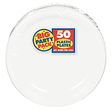 """Amscan Plastic Dessert Plates, 7"""", Frosty White, 50 Plates Per Big Party Pack, Set Of 2 Packs"""