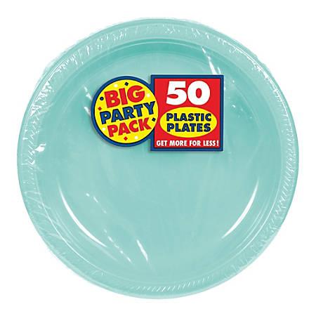 "Amscan Plastic Dessert Plates, 7"", Robin's Egg Blue, 50 Plates Per Big Party Pack, Set Of 2 Packs"