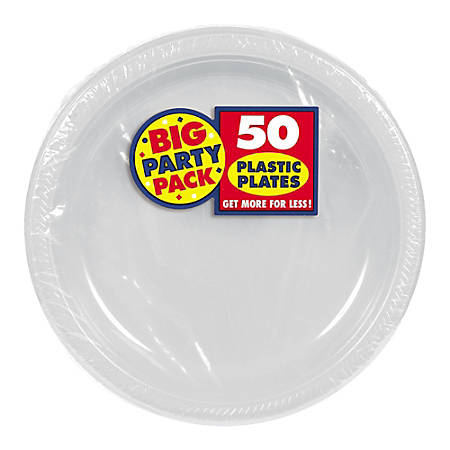 "Amscan Plastic Dessert Plates, 7"", Silver, 50 Plates Per Big Party Pack, Set Of 2 Packs"