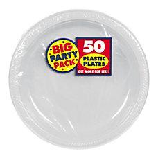 Amscan Plastic Dessert Plates 7 Silver