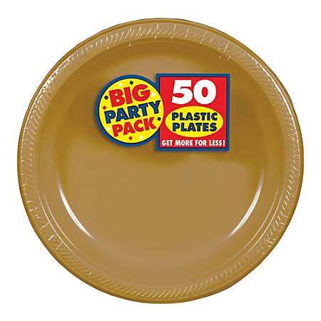 "Amscan Plastic Dessert Plates, 7"", Gold, 50 Plates Per Big Party Pack, Set Of 2 Packs"