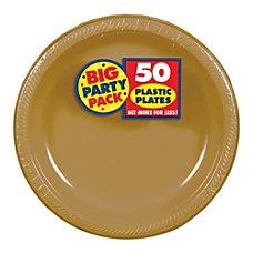 Amscan Plastic Dessert Plates 7 Gold