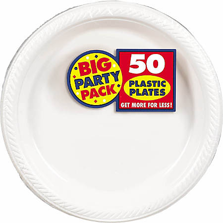 """Amscan Plastic Plates, 10-1/4"""", Frosty White, 50 Plates Per Big Party Pack, Set Of 2 Packs"""