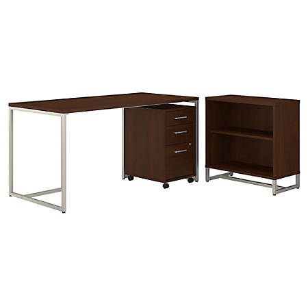 """kathy ireland® Office by Bush Business Furniture Method 60""""W Table Desk With Bookcase And Mobile File Cabinet, Century Walnut, Standard Delivery"""