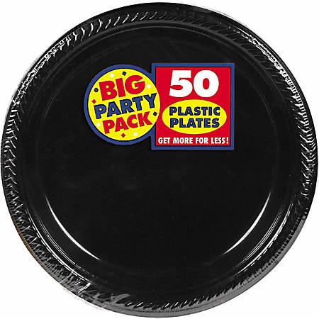 "Amscan Plastic Plates, 10-1/4"", Jet Black, 50 Plates Per Big Party Pack, Set Of 2 Packs"