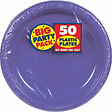 Amscan Plastic Plates 10 14 Purple