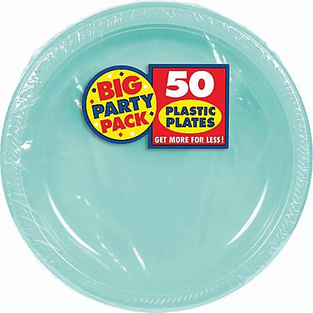 "Amscan Plastic Plates, 10-1/4"", Robin's Egg Blue, 50 Plates Per Big Party Pack, Set Of 2 Packs"