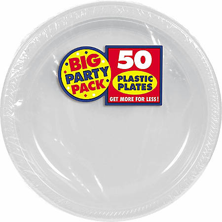 """Amscan Plastic Plates, 10-1/4"""", Silver, 50 Plates Per Big Party Pack, Set Of 2 Packs"""