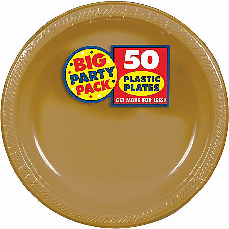"""Amscan Plastic Plates, 10-1/4"""", Gold, 50 Plates Per Big Party Pack, Set Of 2 Packs"""
