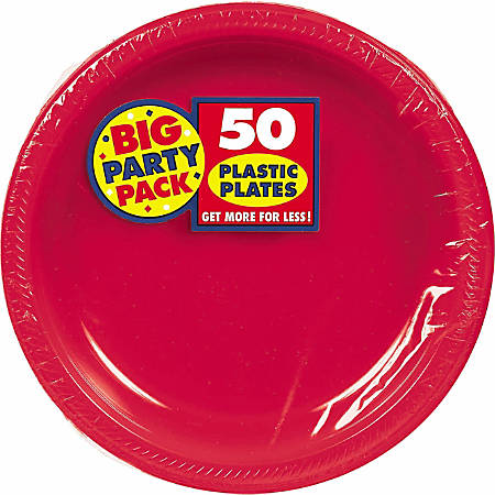 "Amscan Plastic Plates, 10-1/4"", Apple Red, 50 Plates Per Big Party Pack, Set Of 2 Packs"
