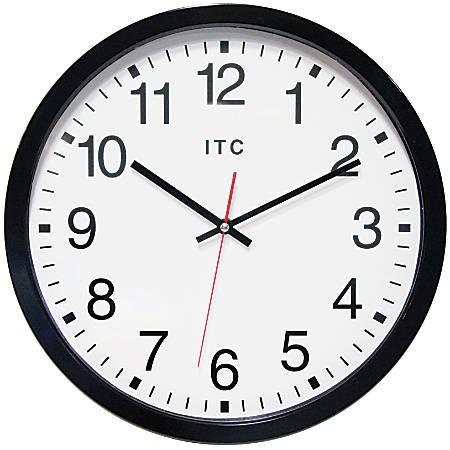 "Infinity Instruments Obsidian 14"" Round Wall Clock, Black"