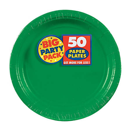 """Amscan Big Party Pack 7"""" Round Paper Plates, Festive Green, 50 Plates Per Pack, Set Of 2 Packs"""