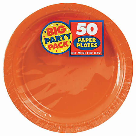 "Amscan Big Party Pack 7"" Round Paper Plates, Orange Peel, 50 Plates Per Pack, Set Of 2 Packs"