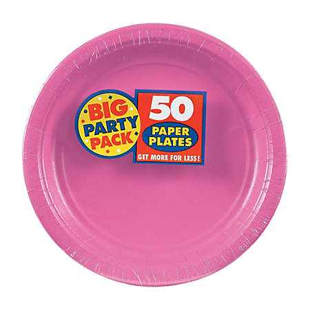 "Amscan Big Party Pack 7"" Round Paper Plates, Bright Pink, 50 Plates Per Pack, Set Of 2 Packs"